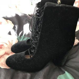 Zara Lace Up Velvet Boots